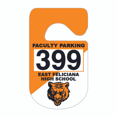Shown is a Two-Color Consecutive Numbered Plastic Parking Hang Tag from Cool School Studios (KC-10H_N2).
