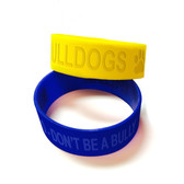 Shown are debossed wristbands from Cool School Studios (4009).