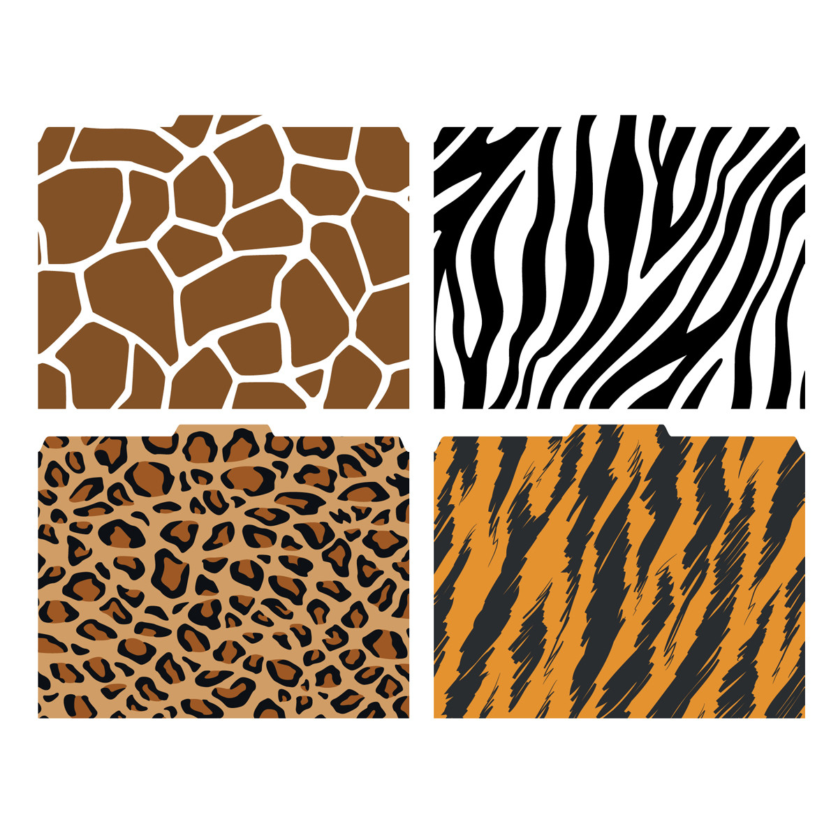Image shows the four patterns/prints included in this set (Giraffe Zebra
