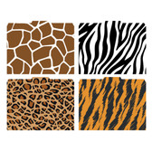 Image shows the four patterns/prints included in this set (Giraffe, Zebra, Leopard and Tiger). 1/3 cut tab at top of each folder.