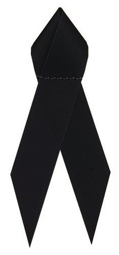 Shown is satin awareness ribbon in black (Cool School Studios 09003).