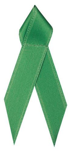 Shown is satin awareness ribbon in green (Cool School Studios 09004).