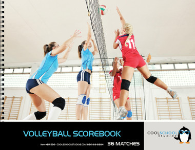 Shown is the cover of the 36 match Volleyball Scorebook from Cool School Studios (BR 536).