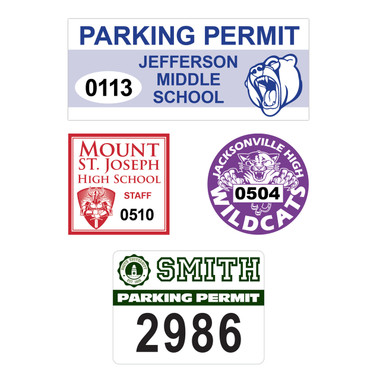 Shown are four parking permit decals.