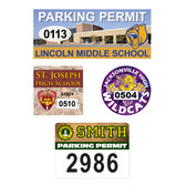 Shown are four security parking decals from Cool School Studios.