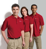 Shown are the Port Authority® polos in men's and women's styles (Cool School Studios).
