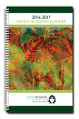 Shown is the cover of the 2016-2017 Dated Teacher's Weekly Planner (05040-1617) from Cool School Studios.