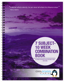 Shown is the hard cover option for the 7-Subject Lesson Plan/Ten Week Record Combination Book (05034) from Cool School Studios.