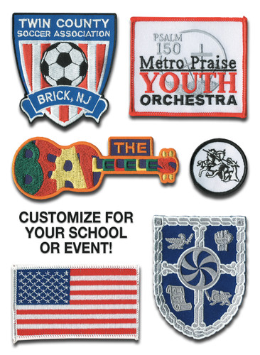 Shown are various embroidery patches (Cool School Studios 10002).