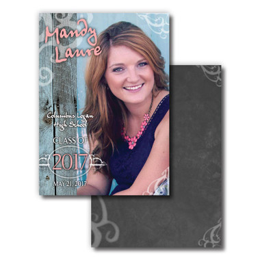 Image shows Senior Announcement Style 02 Barnwood & Chalk from Cool School Studios.
