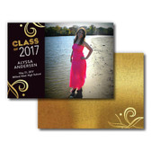 Shown is Senior Announcement Style 03 Golden La Flor from Cool School Studios.