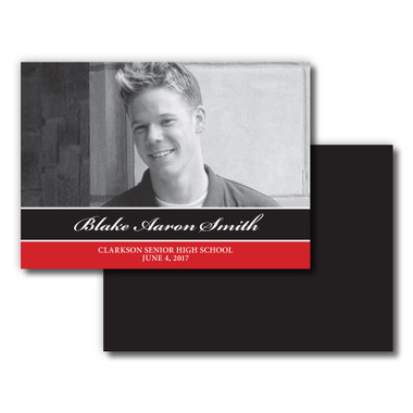 Shown is Style 04 Bold Stripe Senior Announcements from Cool School Studios.