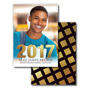 Shown is Style 05 Gold Blocks Senior Announcements from Cool School Studios.