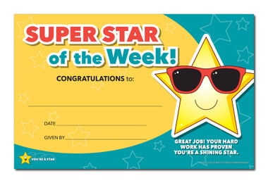 Shown is the YOU'RE A STAR Super Star of the Week Award (Cool School Studios 03009).