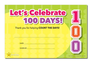 Shown is the YOU'RE A STAR Let's Celebrate 100 Days Award (Cool School Studios 03012).