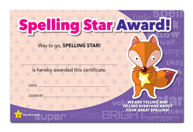 Shown is the YOU'RE A STAR Spelling Award (Cool School Studios 03015).