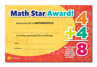 Shown is the YOU'RE A STAR Math Star Award (Cool School Studios 03019).