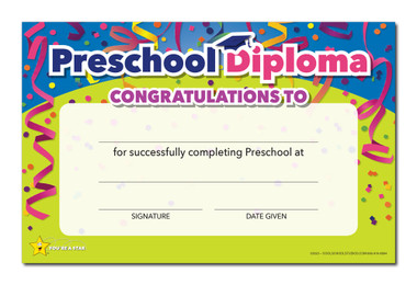 Shown is the YOU'RE A STAR Preschool Diploma (Cool School Studios 03023).
