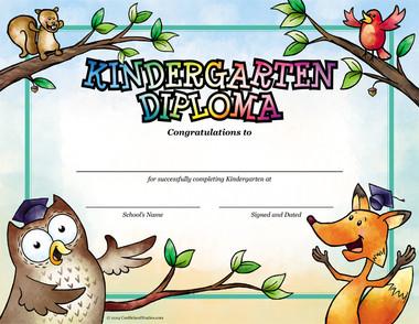 Owl and Fox Kindergarten Diploma from Cool School Studios.