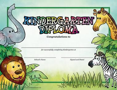 Jungle Kindergarten Diploma from Cool School Studios.