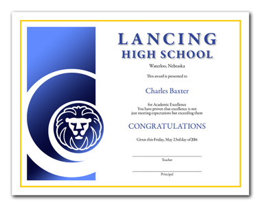Style 1: Illustrates the type in dark blue and black ink, the border in yellow ink and the lion mascot and column in blue foil.