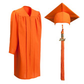 Shown is child matte orange cap, gown & tassel package (Cool School Studios 0625).
