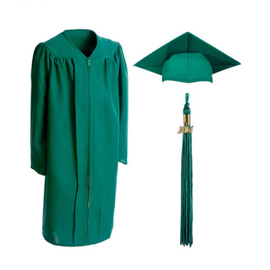 Shown is child matte emerald green cap, gown & tassel package (Cool School Studios 0620).