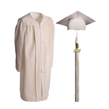 Shown is child matte white cap, gown & tassel package (Cool School Studios 0616).
