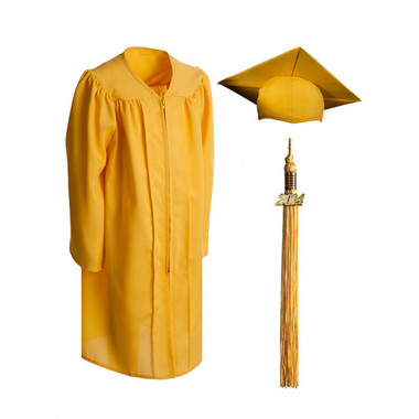 Shown is child matte gold cap, gown & tassel package (Cool School Studios 0617).
