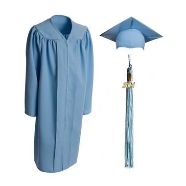 Shown is child matte sky blue cap, gown & tassel package (Cool School Studios 0619).