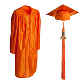 Shown is child shiny orange cap, gown & tassel package (Cool School Studios 0610).
