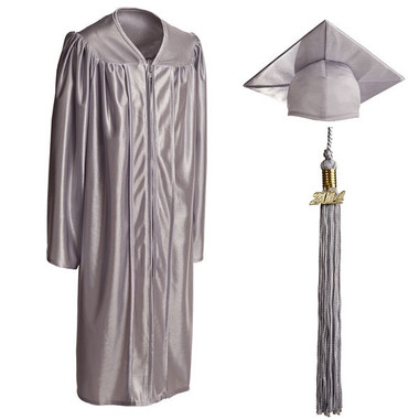 Shown is child shiny silver cap, gown & tassel package (Cool School Studios 0611).