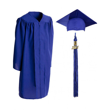 Shown is child matte royal blue cap, gown & tassel package (Cool School Studios 0612).