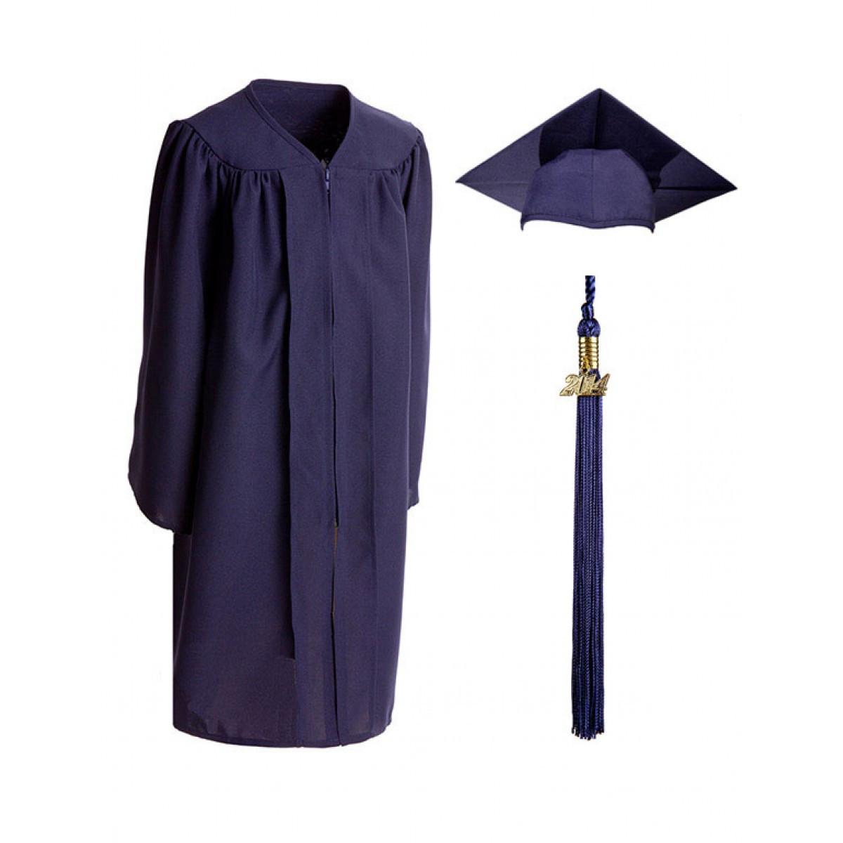 Child Matte Navy Blue Cap, Gown & Tassel - Cool School Studios