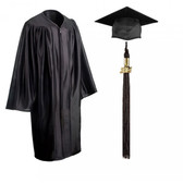 Shown is child shiny black cap, gown & tassel package (Cool School Studios 0605).