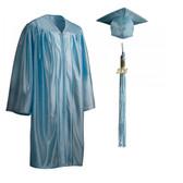 Shown is child shiny sky blue cap, gown & tassel package (Cool School Studios 0607).