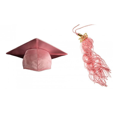 Shown is child shiny pink cap & tassel package (Cool School Studios 0437).