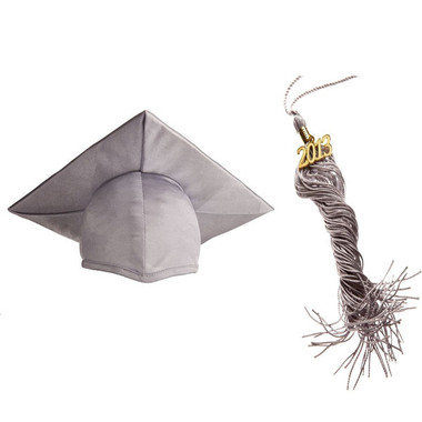 Shown is child shiny silver cap & tassel package (Cool School Studios 0438).