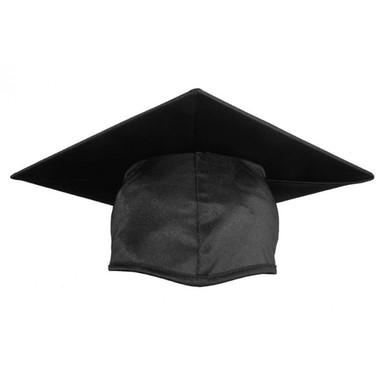 Shown is child shiny black cap (Cool School Studios 0500), front view.