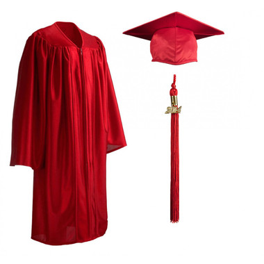 Shown is child shiny red cap, gown & tassel package (Cool School Studios 0600).