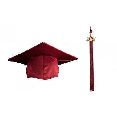 Shown is child shiny maroon cap & tassel package (Cool School Studios 0430).