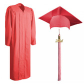 Shown is matte pink cap, gown & tassel package (Cool School Studios 0312).