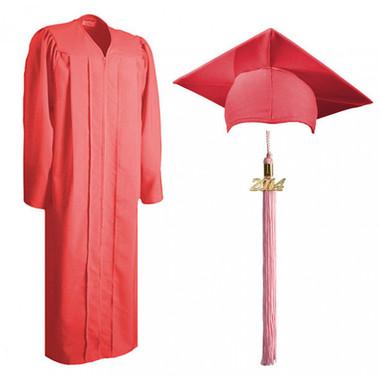 Shown is matte pink cap, gown & tassel package (Cool School Studios 0312).