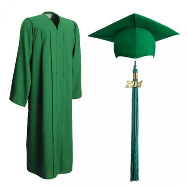 Shown is matte emerald green cap, gown & tassel package (Cool School Studios 0313).