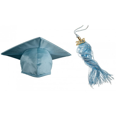 Shown is child shiny sky blue cap & tassel package (Cool School Studios 0433).