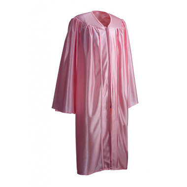 Shown is child shiny pink gown (Cool School Studios 0422), full view.