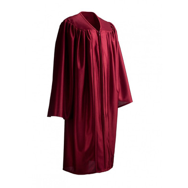Shown is child shiny maroon gown (Cool School Studios 0423), full view.