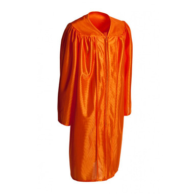 Shown is child shiny orange gown (Cool School Studios 0424), full view.