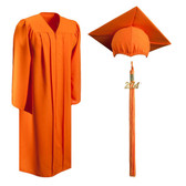 Shown is matte orange cap, gown & tassel package (Cool School Studios 0309).