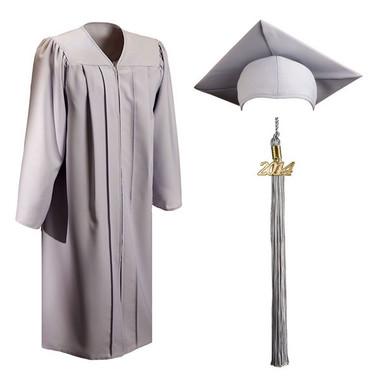 Shown is matte silver cap, gown & tassel package (Cool School Studios 0310).